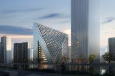 Pirâmide de uso misto do OMA em Hangzhou começa a ser construída